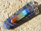 7 chakra bonded slices on a sodalite 6 sided flat healing pendant