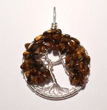 Tree of Life Pendant ~ Tiger's Eye Foliage ~ Silver Plated ~ Hand Crafted ~3.7cm