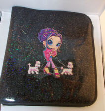 "Lisa Frank Black Glitter Glamour Girl Binder Zipper Notebook 13"" Tall"
