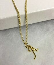 """NEW Initial Letter """"A"""" Pendant Necklace 18"""" Curb Link Chain 22K Gold Plated"""