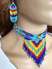 BLUE MULTI-COLOR BEADED CHOKER NECKLACE N55/2