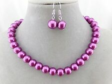 Classic Pearl Necklace Set Purple Silver Single Strand Fashion Jewelry NEW