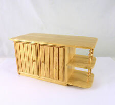 Dollhouse Miniature Oak Kitchen Island Cabinet with Spindles,T4120