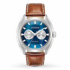 Citizen BU4010-05L Mens Eco-Drive Brown Leather Strap Blue Dial Watch