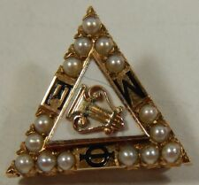 Vtg 1954 10k Gold Collegiate Sorority Music Fraternity Mu Phi Epsilon Pearl Pin