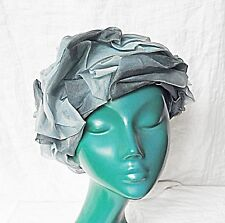 'VINTAGE' 40S 50S WEDDING CHURCH HAT SOFT SWIRLS BLUE CHIC RACES GARDEN PARTY