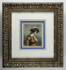 Exquisite Antique 1800s English Watercolor Young Prince GALLERY FRAMED COA