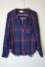 NWOT Anthropologie Cloth&Stone Fringe Red Cotton Plaid Shirt Button down L 8 10
