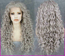 Gray Long curly Lace front full wig wavy hair Frontal lace wigs Halloween party