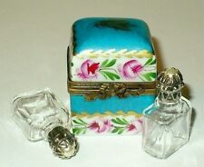 LIMOGES BOX ~ FLORAL CHEST & PERFUME BOTTLES & PEARLS ~ ROSES ~TRUNK~ PEINT MAIN