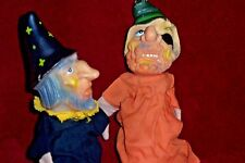 Vintage Halloween Puppets 1950's Scary Wizard and Pirate Rubber Heads Cloth Bodi