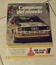 HB AUDI TEAM SPORT Campione del Mondo Rally Roehrl e Advertising Pubblicità 1985