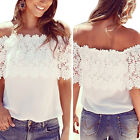 Sexy Womens White Lace Chiffon Off Shoulder Top Shirt Casual Blouse T-Shirt