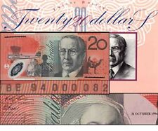 Australia Low Serial 1st $20 Folder BE94 000082 +Ovpt F&E Polymer Banknote Issue
