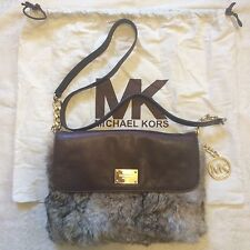 MICHAEL KORS 100% Rabbit Fur+Brown Leather Purse Cross-body Shoulder+Dust Bag