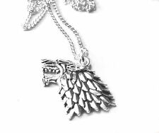 Game of Thrones silver Dire Wolf Stark necklace silver plated chain 18 inch