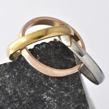 Vintage Silver Yellow/Rose Gold Cross Style Unisex Band Ring