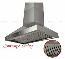"Xtreme Air 36"" European Wall Mount Stainless Steel Range Hood with Baffle Filter"