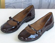 6.5-Natural Soul Womens D Brown Faux Patent Leather Mary Jane Buckle Flats Shoes