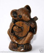 Eglise musicien mandoline sculpture Souris Mignon unique cadeau de collection musicale en chêne