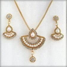 Ethnic Indian Bollywood Gold Pearls Chain Pendant Earring Jewellery Necklace Set