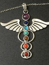"""Chakra Total Coverage Medical Symbol Charm Tibetan Silver with 18"""" Necklace C1"""