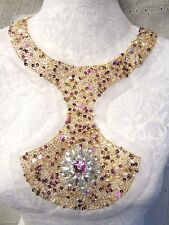 "11"" Sheer RHINESTONE BEAD & SEQUIN ** Back or Front Neckline Applique **  WOW!!"