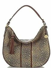 Brahmin Kathleen Leopard Print Leather Hobo Shoulder Bag (Creme Valencia)