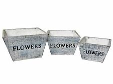 "SET 3 NESTING RUSTIC PRIMITIVE STYLE WOODEN ""FLOWER"" BOXES PLANTERS WHITE BLUE"