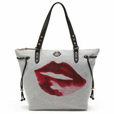 New Juicy Couture JC Sport Lips Sweatshirt Shopping Tote Bag Purse Gray NWT