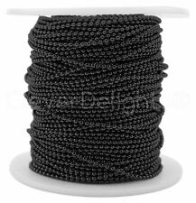 Ball Chain Spool - 30 Feet - Dark Black Color - 1.5mm Ball - 10 Yards Bulk