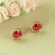 E3 Rose Gold Plated Red Crystal Leverback Earrings - Giftboxed