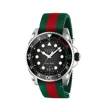 OROLOGIO UOMO GUCCI XL DIVE MAN WATCH YA136209 nato strap nylon VERDE SWISS made
