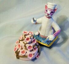BAKER CAT ICING CAKE FIGURE Polymer Clay Folk Art Doll Cherry Blossoms Wedding