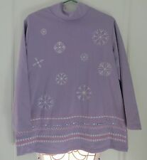 CST Sport Lavender Snowflake Mock Turtleneck  Shirt, Top, Blouse  Plus Size 0X