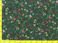 Burgundy Red White Flowers on Dark Green with White Dots By The Yard CFLGRE02425