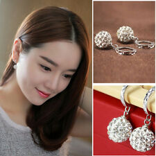 Hot Women's 925 Sterling Silver Full Crystal Ball Drop/Dangle Earrings Jewelry K
