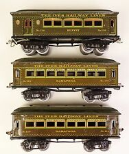 IVES PRE-WAR PASS. CAR SET W(2) #129 SARATOGA & (1) #130 BUFFET CARS-VG. ORIG!