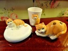 STYLE  EYES  CATS  3 PC. BATHROOM SET  SOAPDISH, TOOTHBRUSH HOLDER & CUP