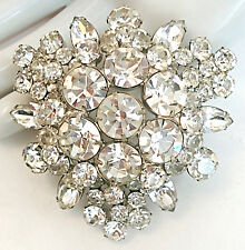 Vintage Costume Jewelry JULIANA  D&E Clear  Rhinestone Brooch Pin Layered