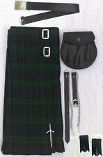 "SCOTTISH KILT SET OUTFIT PACKAGE 7 PIECES, BLACK WATCH TARTAN,SIZES 28"" to 46"""