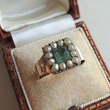 Antique Georgian Gold Green Paste and Pearl Ring