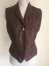 Principles Petite Women Waistcoat Brown Vintage Formal With Wool Size 12 (09)
