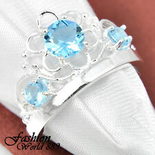 Artistic Classic  Fire Sky Blue Topaz Gem Silver Plated Crown Rings Us size 9