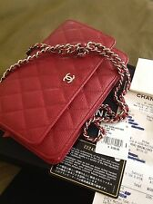 NWT 2016 CHANEL Red  CAVIAR Silver HARDWARE CLASSIC WALLET ON THE CHAIN WOC BAG