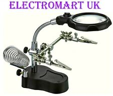 HELPING HANDS 75MM MAGNIFIER MAGNIFYING LED LIGHT SOLDERING IRON STAND 2 ARM