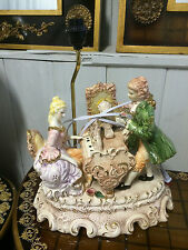 Capodimonte Style  Piano Lamp Figurine with Shade