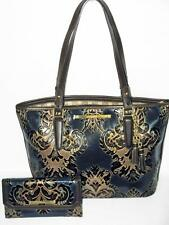 BRAHMIN Limited Ed NAVY BLUE FRESCO ASHER SHOULDER TOTE and CHECKBOOK WALLET NWT