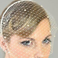 White Wedding Bridal Birdcage Face Veil Fascinator Evening Party Hair Headband