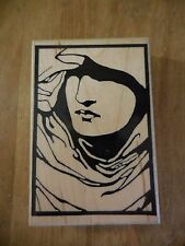 """Postmodern Design """"The Seeker"""" Rubber Mounted on Wood Stamp Woman's Face USED"""